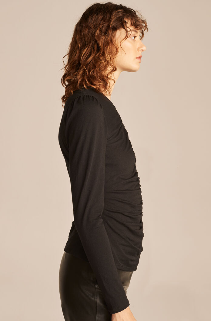 Ruched Long Sleeve Top, Black, large