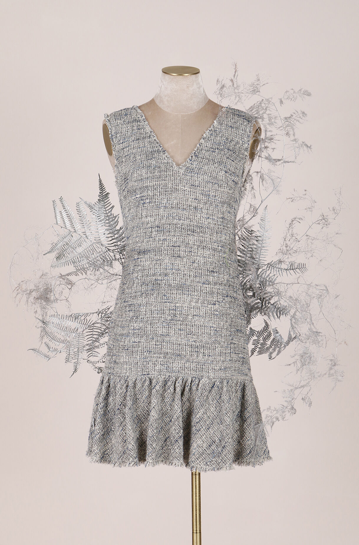 ReCollect Tweed V-Neck Dress