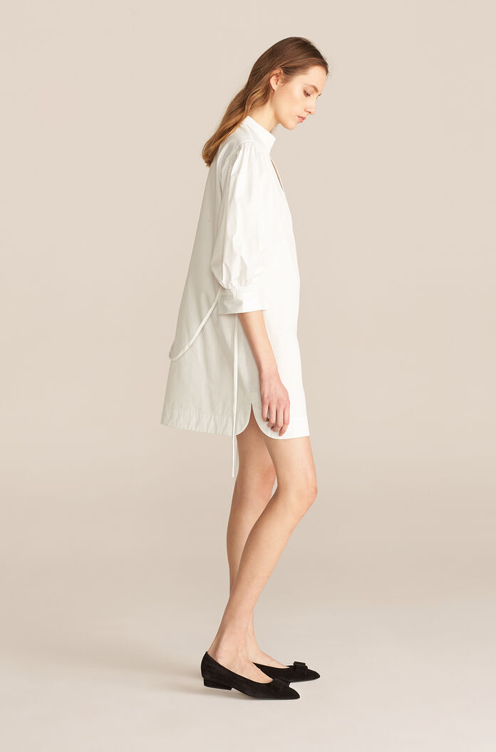 Longsleeve Twill Belted Dress, Snow, large