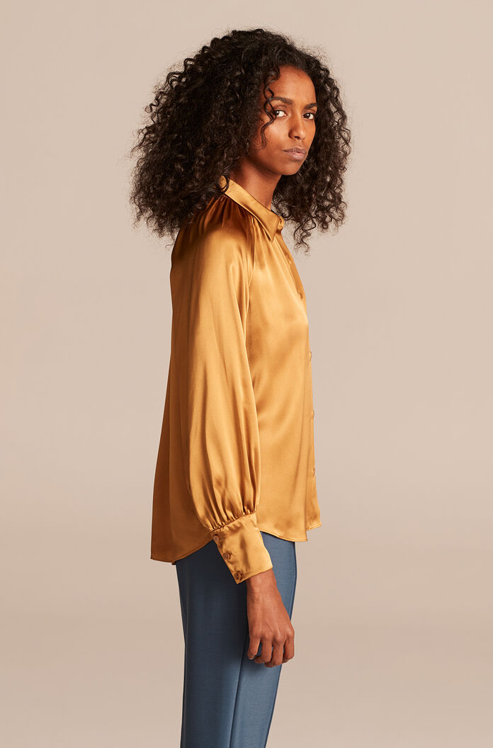 Silk Charmeuse Button Down Top, Gold, large