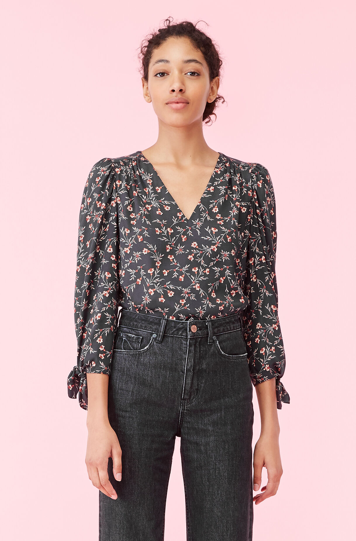 Lia Floral Silk Twill Top, , large