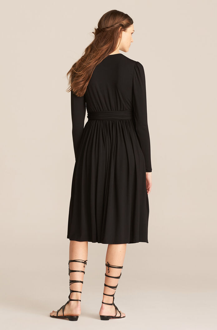 V-Neck Modal Dress, Black, large