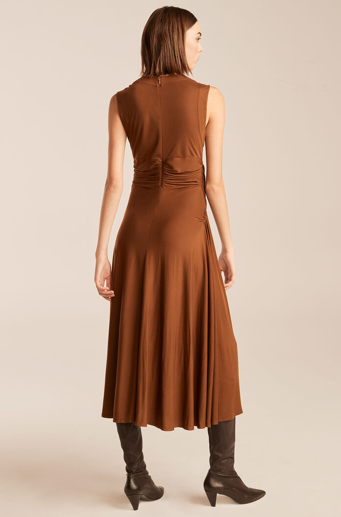 Sleeveless Ruched Dress, Cocoa, large
