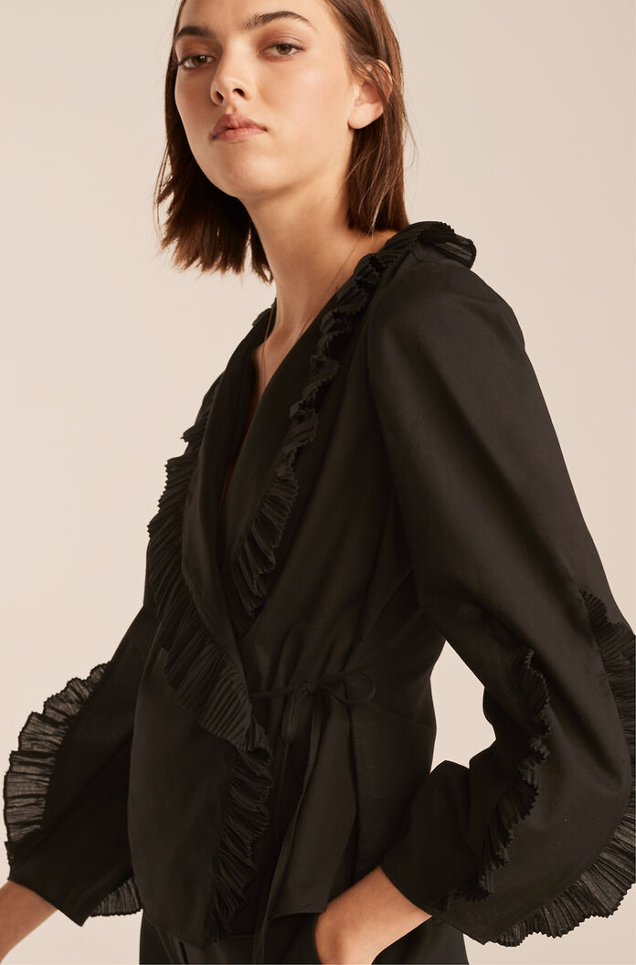 Pleated Wrap Top, Black, large