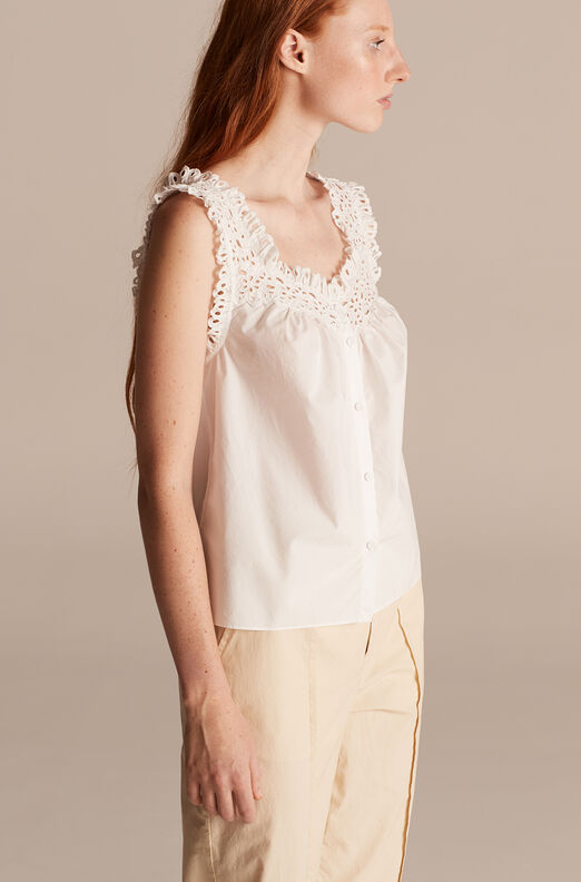 La Vie Lisette Eyelet Sleeveless Top, Milk, large