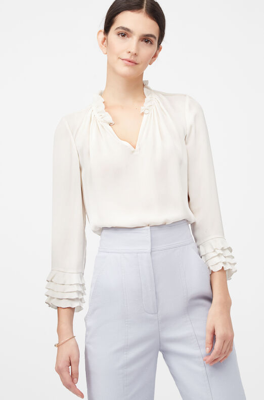 La Chemise Silk Double Georgette Ruffle Top