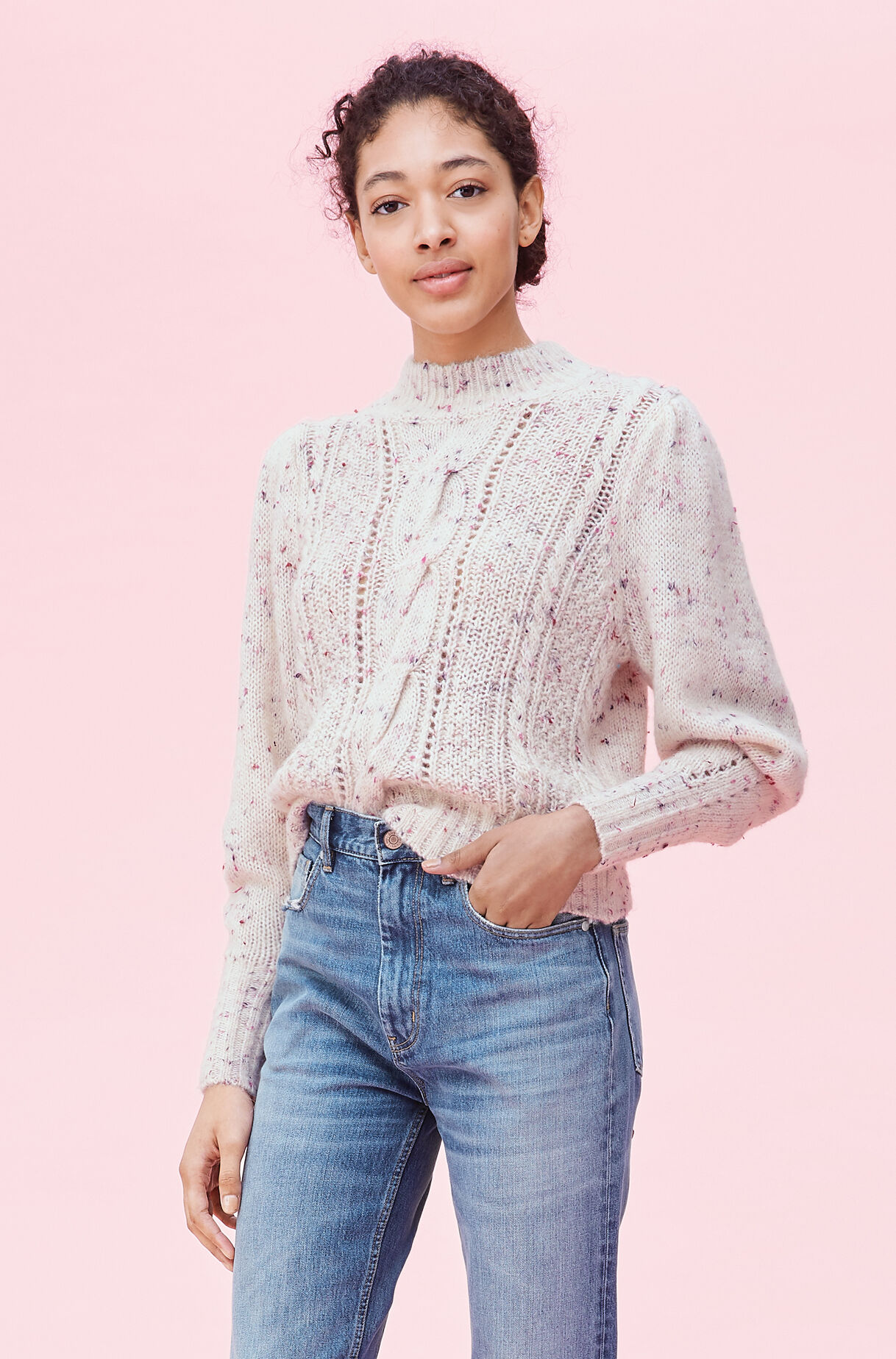 Soft Tweed Cable Pullover