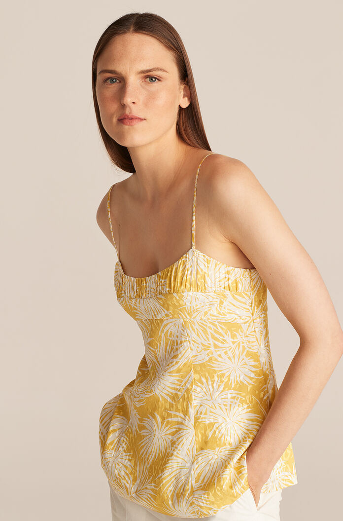 Palmetto Fleur Ruched Cami, Sunflower Combo, large