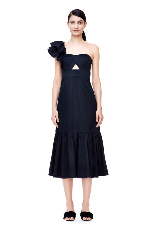 One-Shoulder Cotton Ruffle Dress - Black