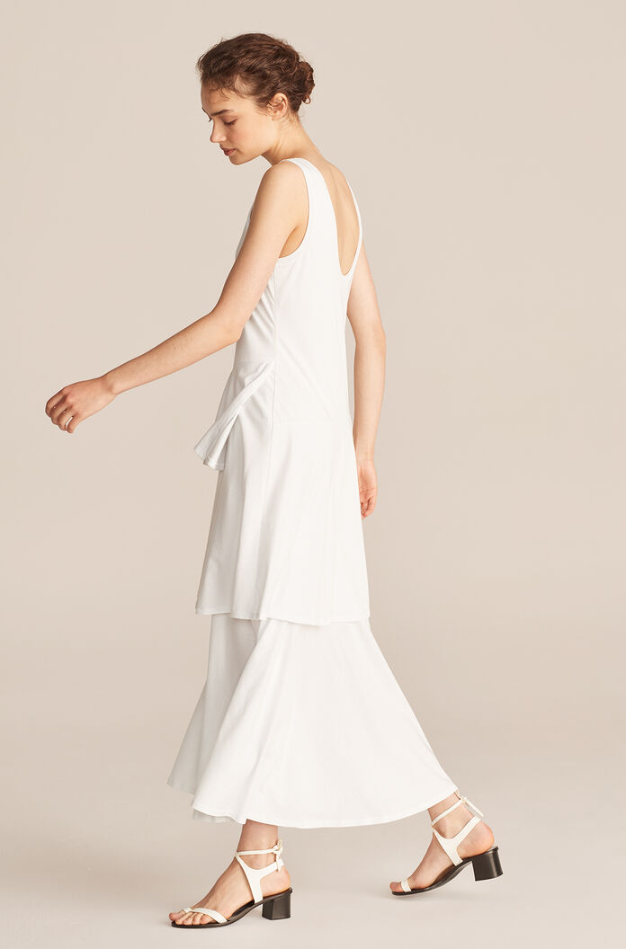 Tiered Dress, White, large