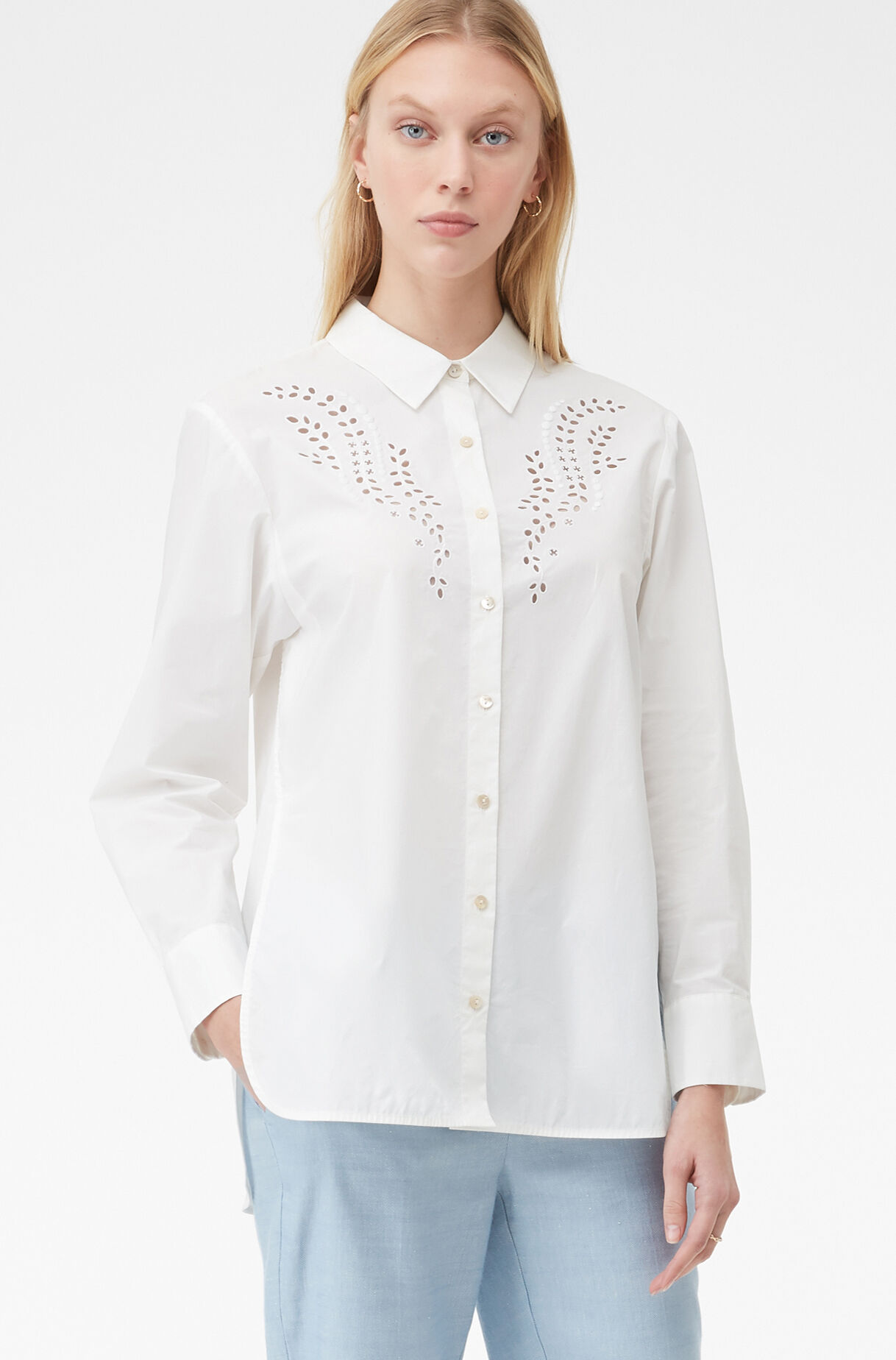 Tailored Embroidered Poplin Top, , large