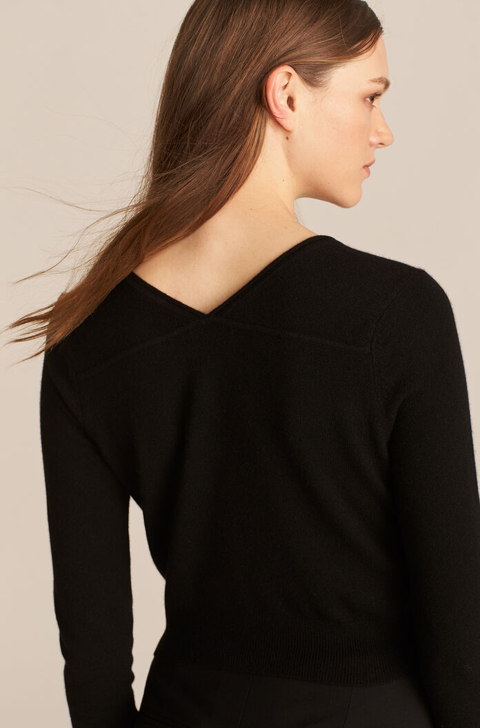 Barely There Cashmere Cardigan, Black, large