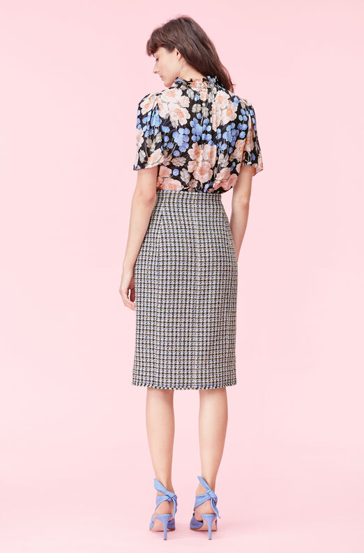 Houndstooth Tweed Skirt, Robins Egg Combo, large