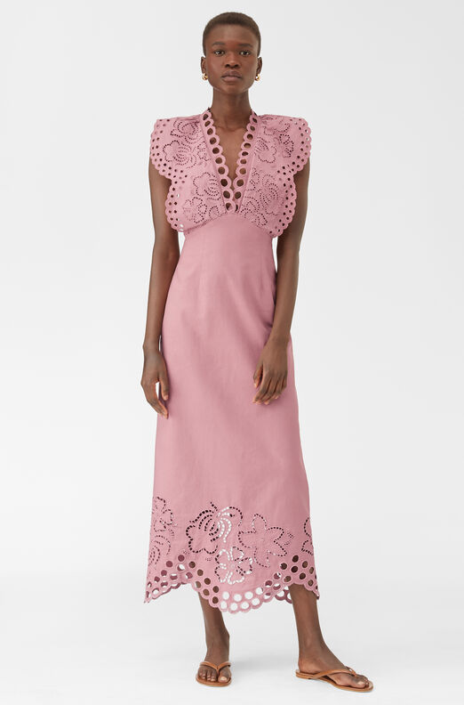 Ariana Eyelet Embroidered Dress, Foxglove, large