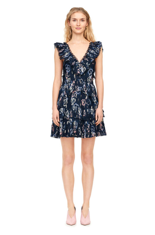 Faded Floral Pleated Clip Dress - Navy