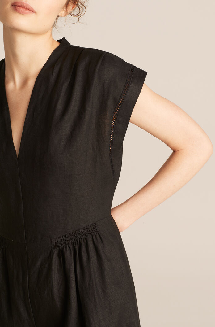 Linen Jumpsuit, Black, large