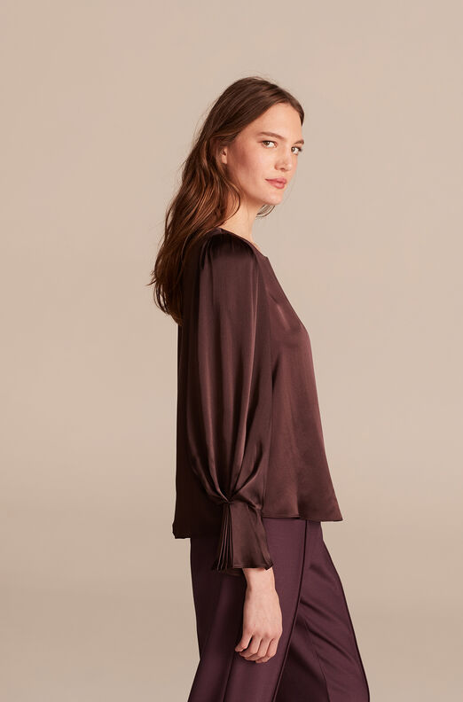 Silk Charmeuse Pleat Top, Aubergine, large