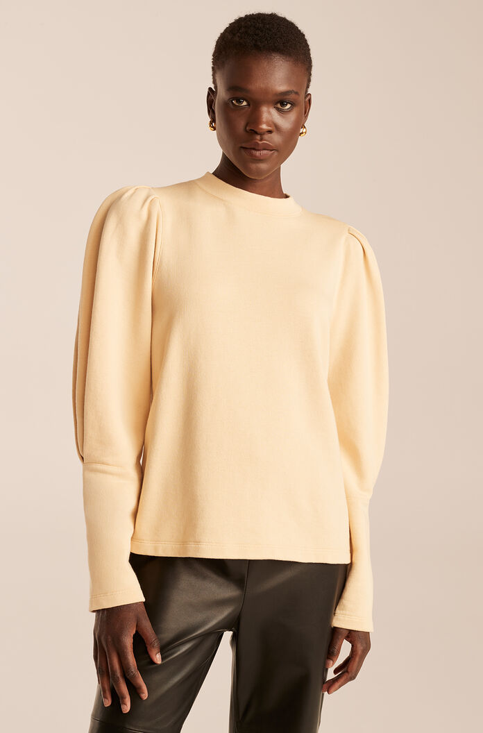 Puff Sleeve Knit Top, Biscuit, large