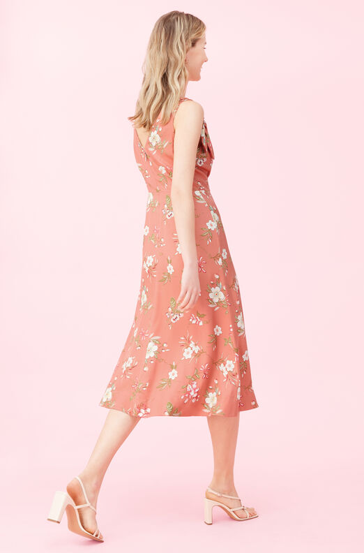 Lita Floral Silk Twill Bow Dress