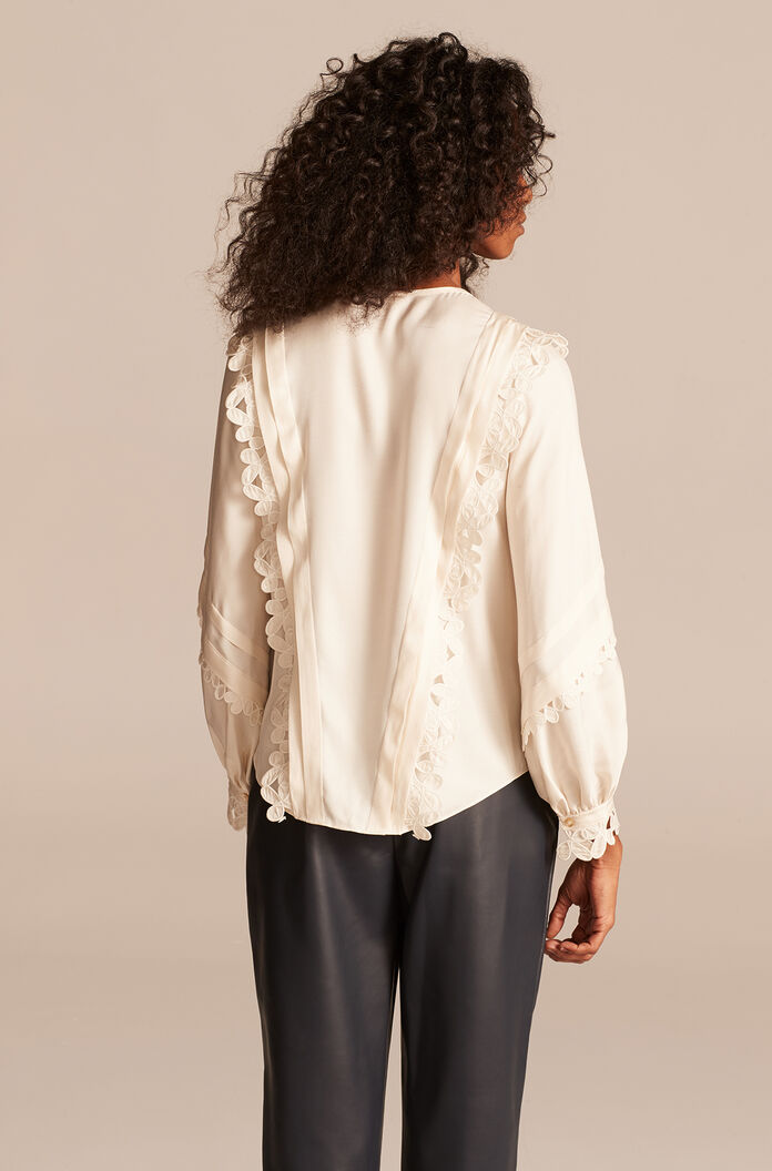 Embroidered Silk Top, Antique Cream, large
