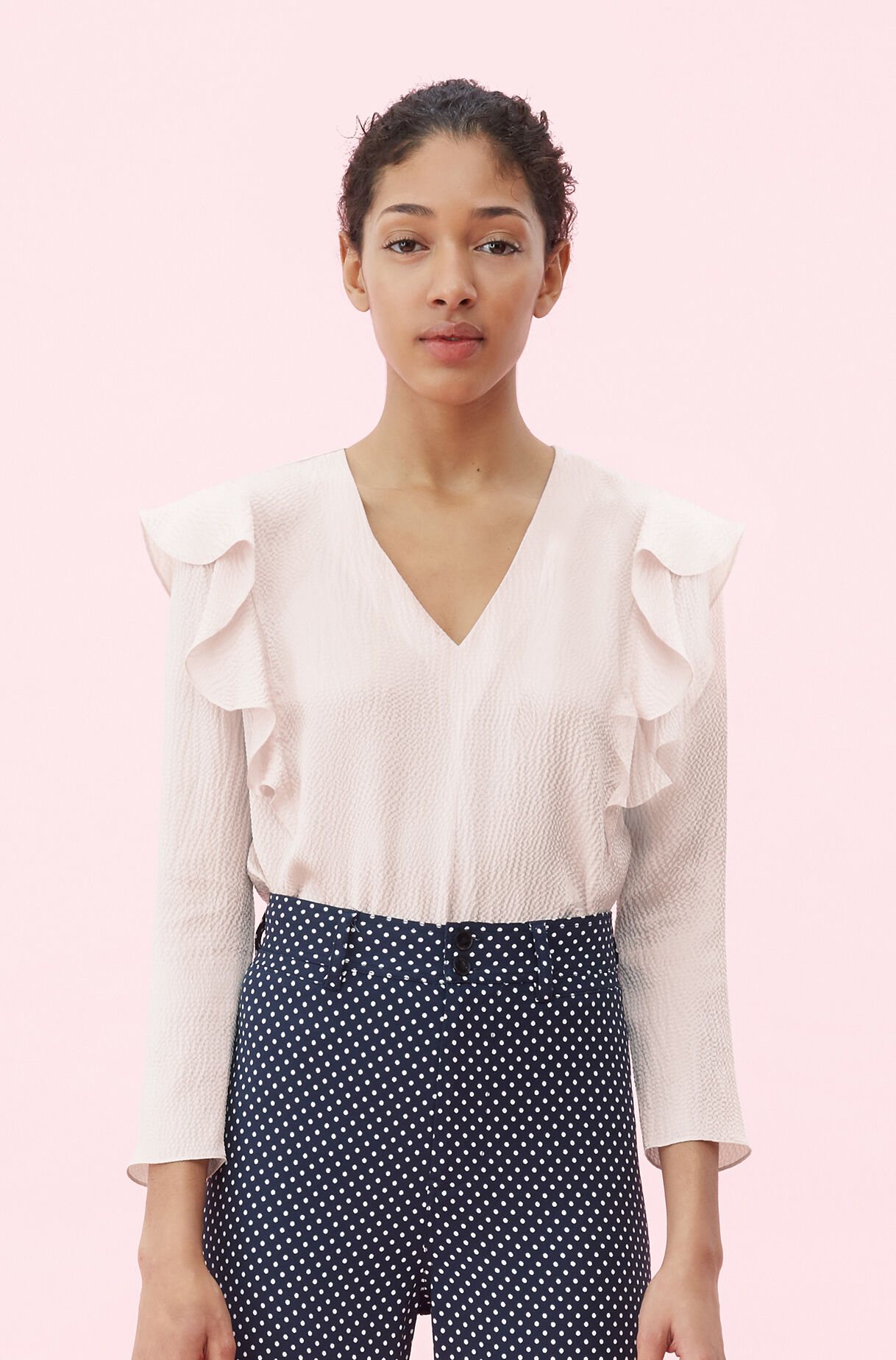 Hammered Silk Ruffle Top