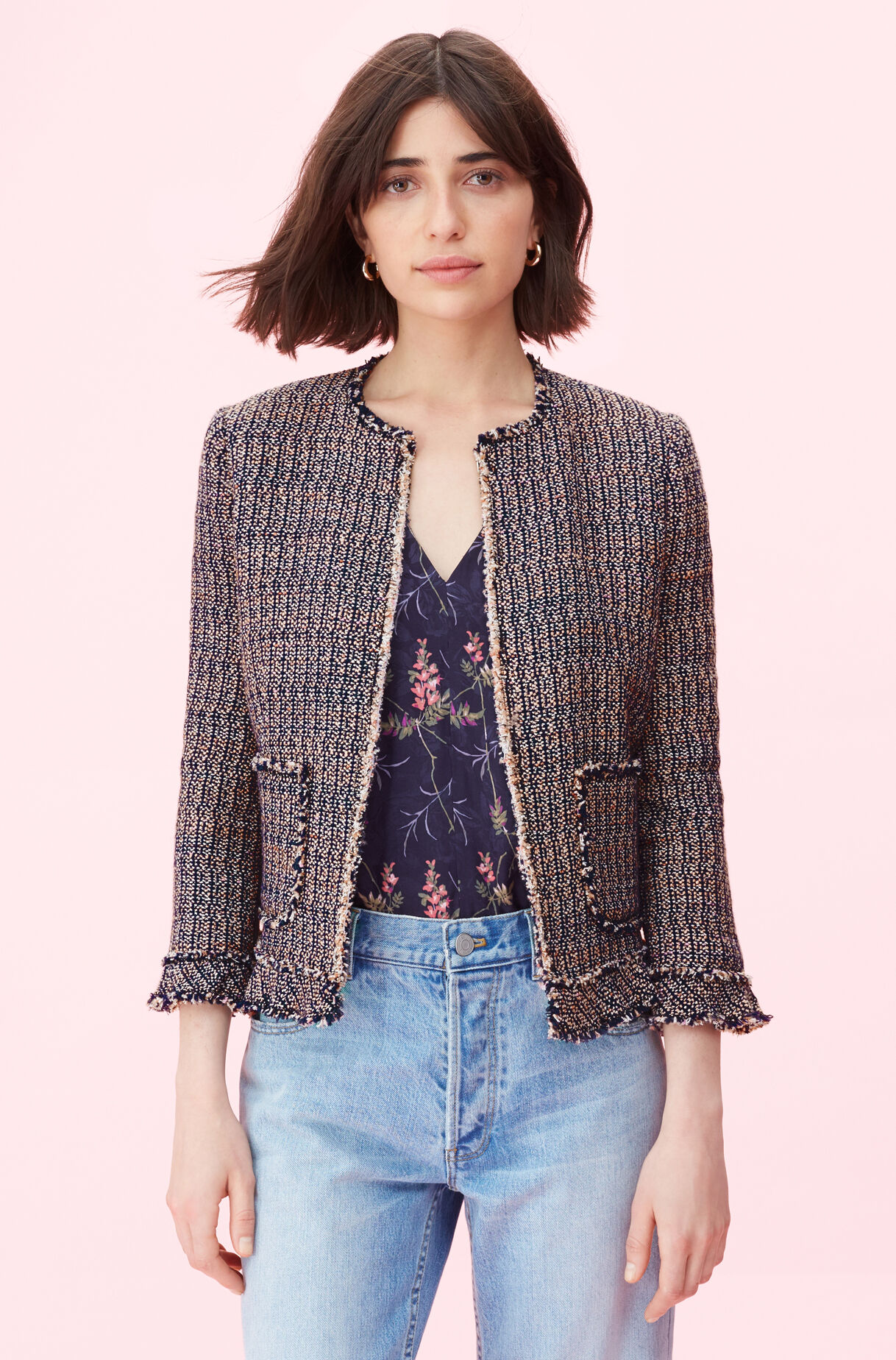 Tweed Ruffle Jacket, , large