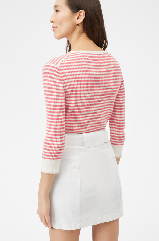 La Vie Striped Henley Pullover