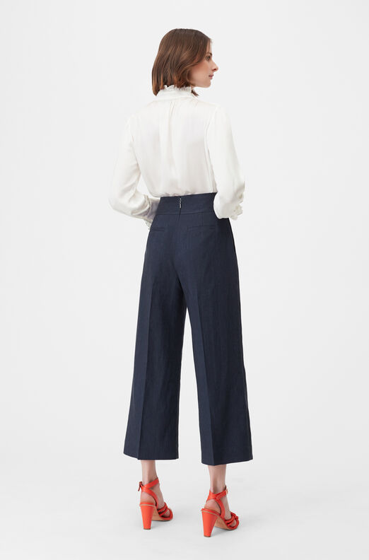 Tailored Stretch Linen Blend Cropped Pant