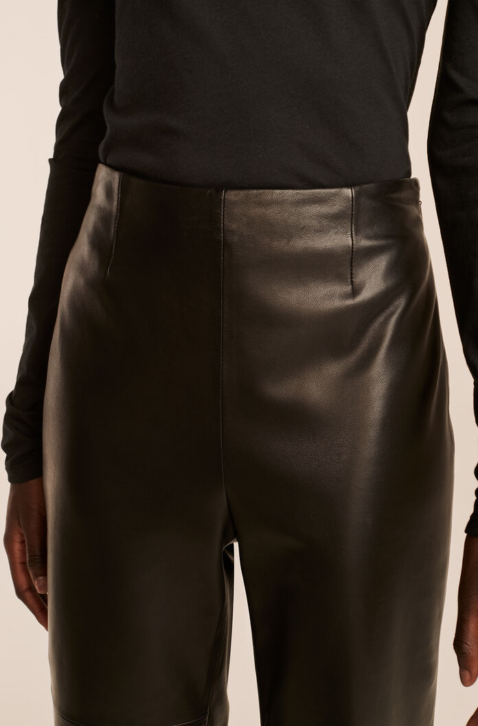 Leather Ankle Pant, Black, large