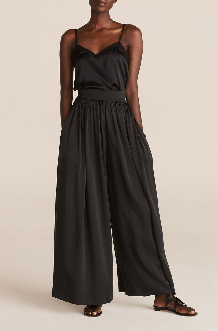 Silk Charmeuse Flow Pant, Onyx, large