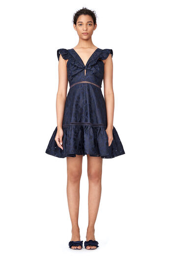 Aly Fil Coupe Dress - Dark Navy