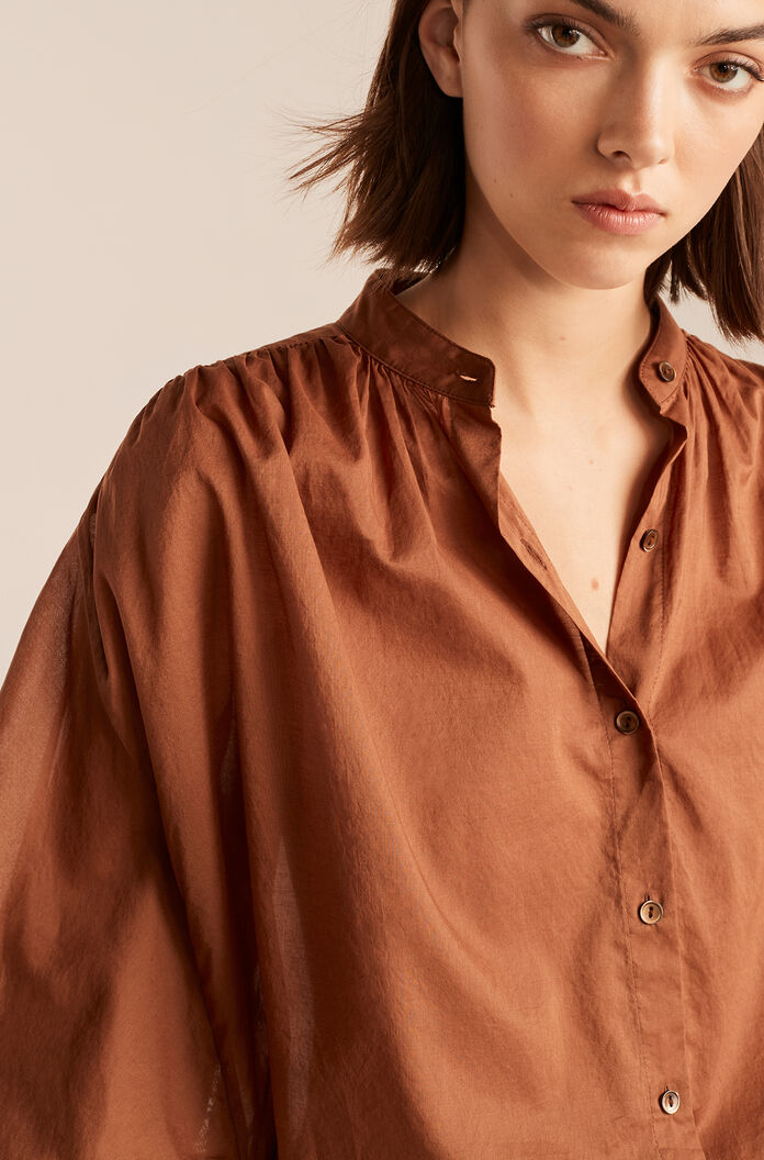 Long Sleeve Voile Button Down-Pecan