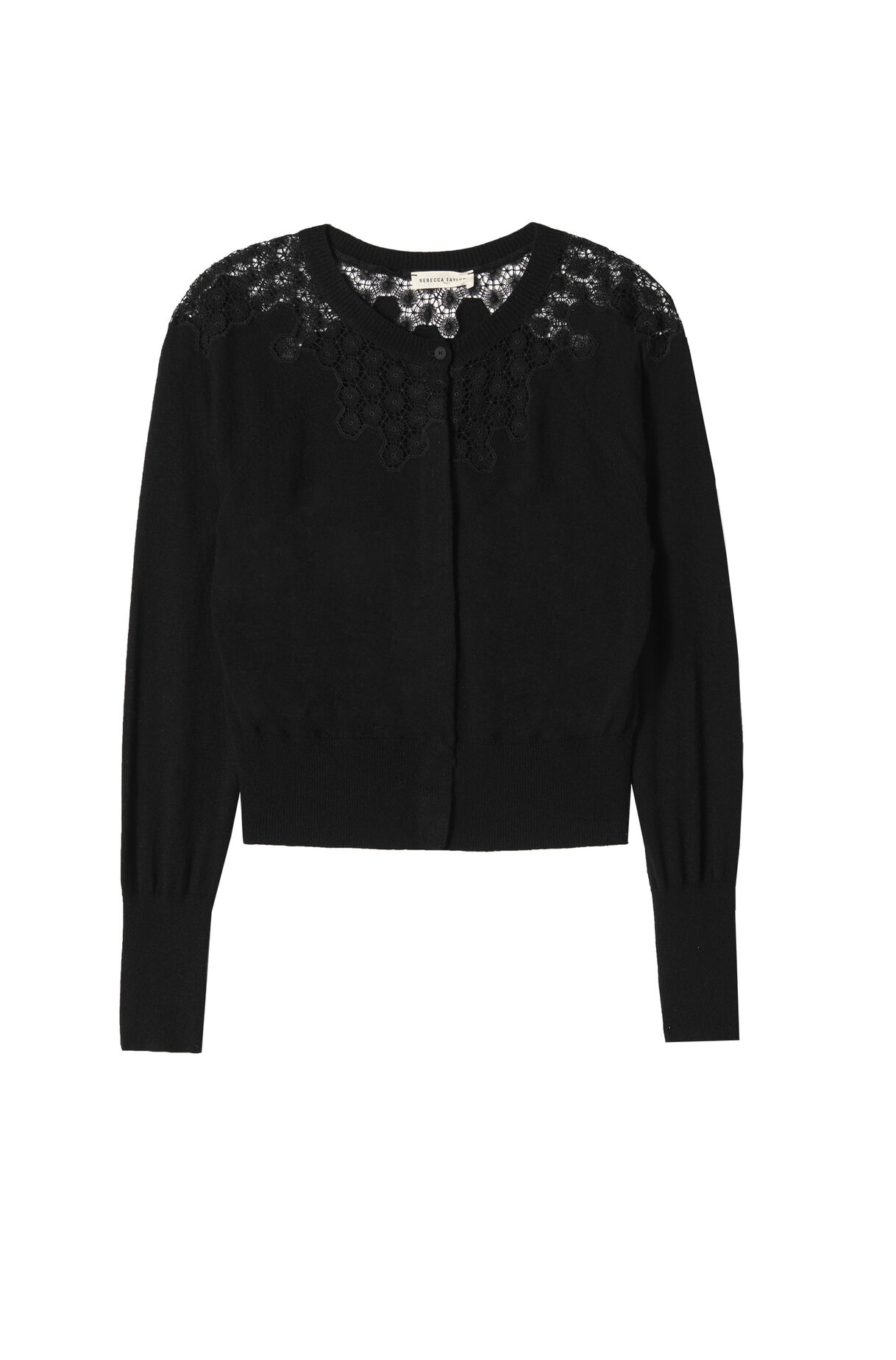Lace Inset Cardigan | Rebecca Taylor