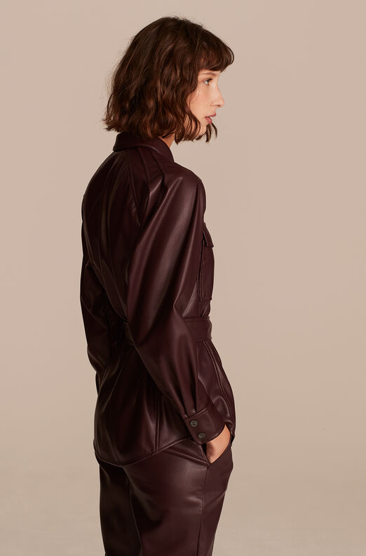 Vegan Leather Belted Jacket, Port, large