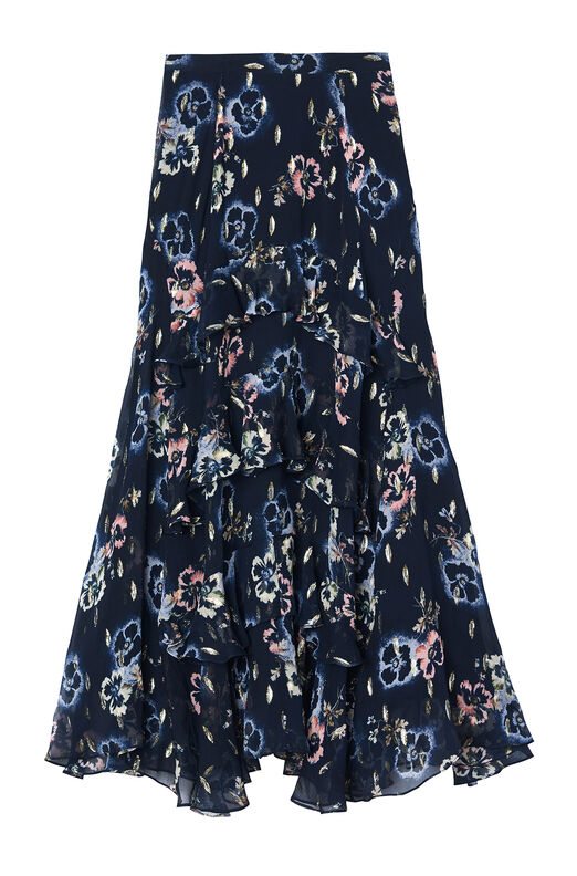Faded Floral Metallic Clip Skirt