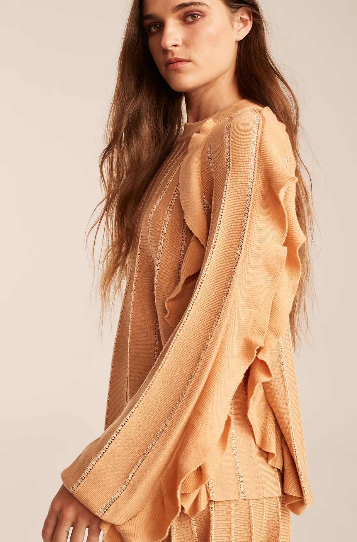 Pleated Stitched Sweater With Ruffles-Sunkiss