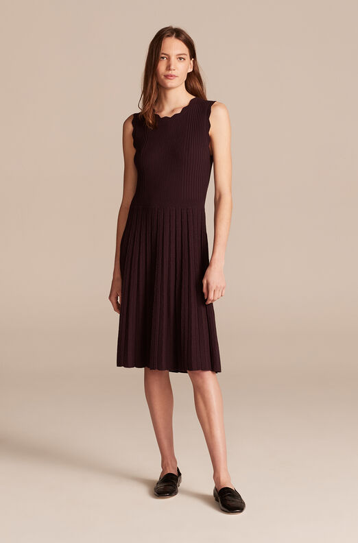 Ribbed Dress, Deep Plum, large