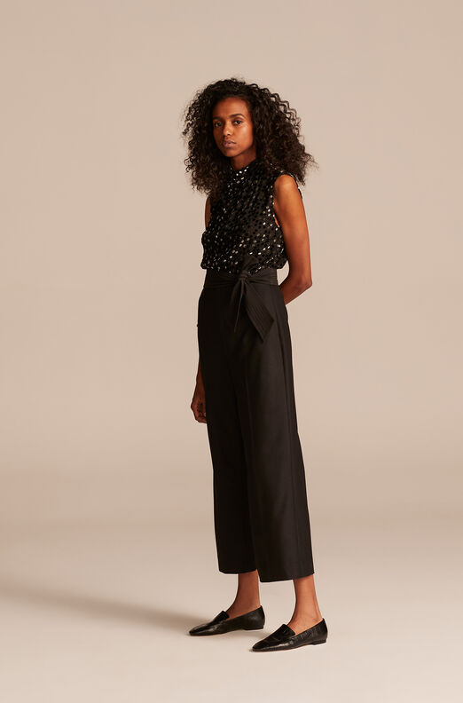 Velvet Dot Jumpsuit, Black Combo, large