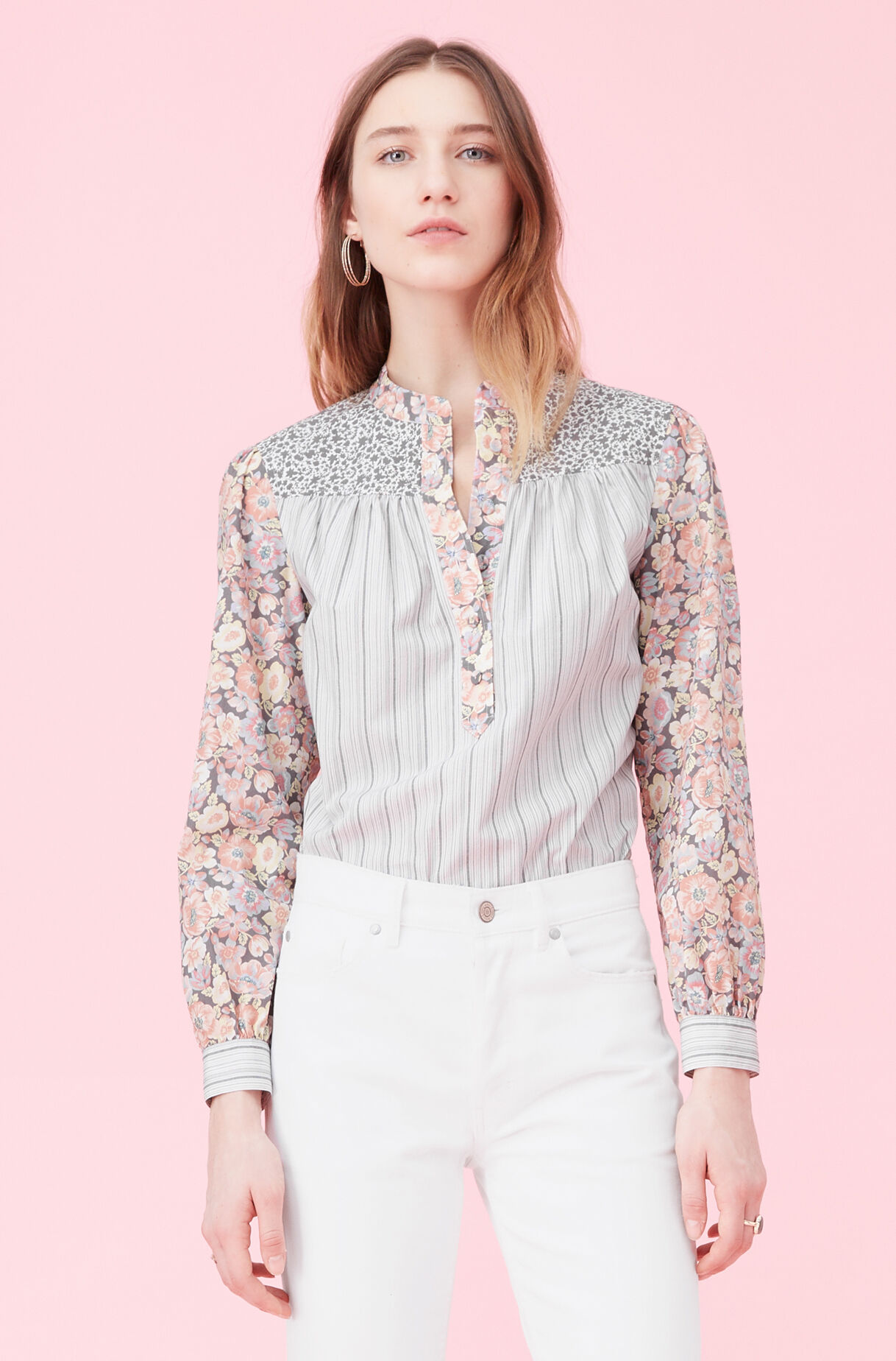 La Vie Print Mix Poplin Top