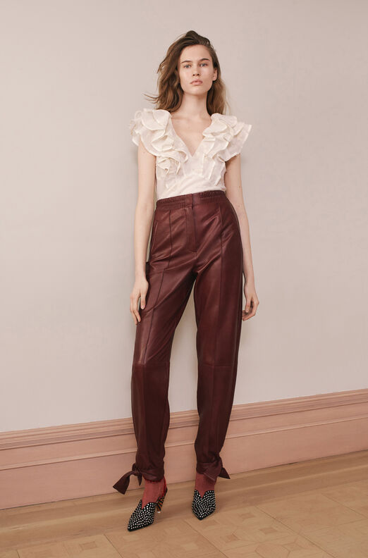 Vegan Leather Tie Cuff Pant