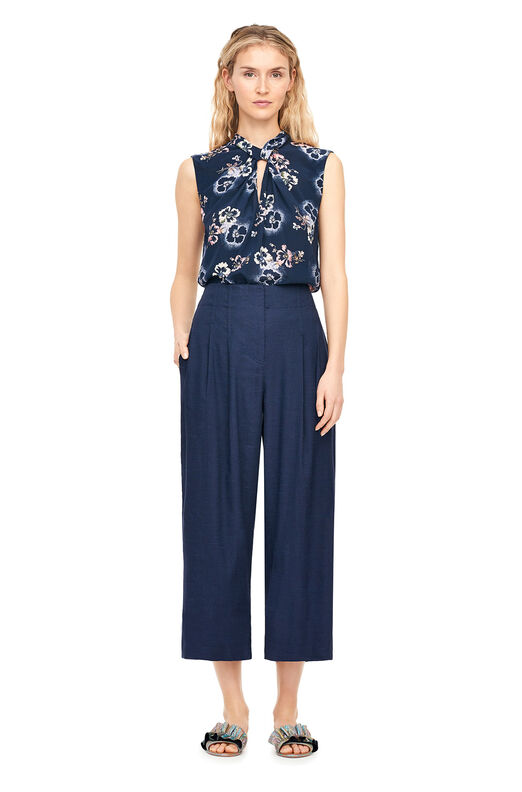 Faded Floral Silk Knot Neck Top - Navy