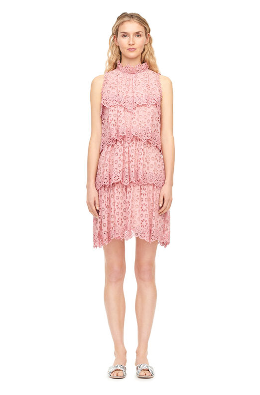 Pinwheel Eyelet Tiered Dress - Peony