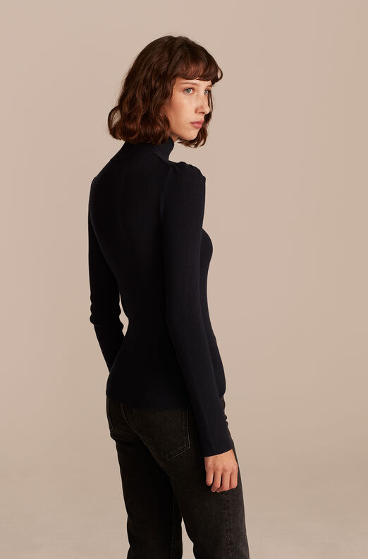 Cozy Cotton Turtleneck, Midnight Navy, large