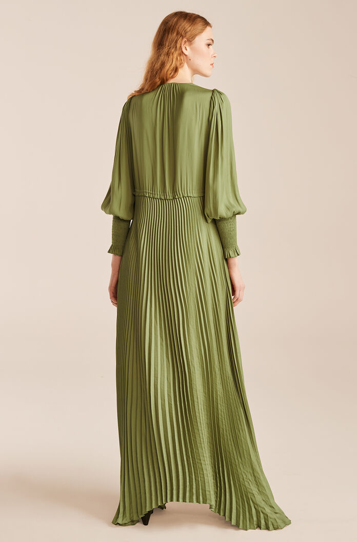 Tie Front Pleated Dress, Avocado, large