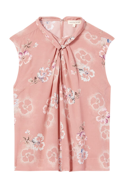 Faded Floral Silk Knot Neck Top