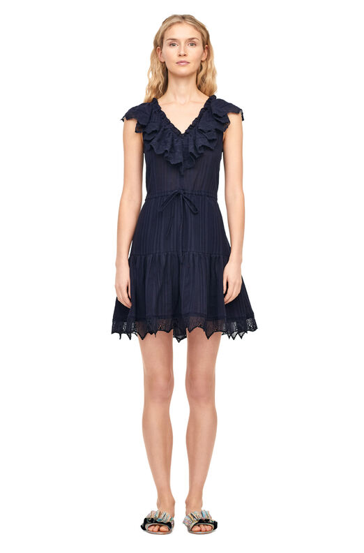 Mariana Gauze & Eyelet Dress - Navy