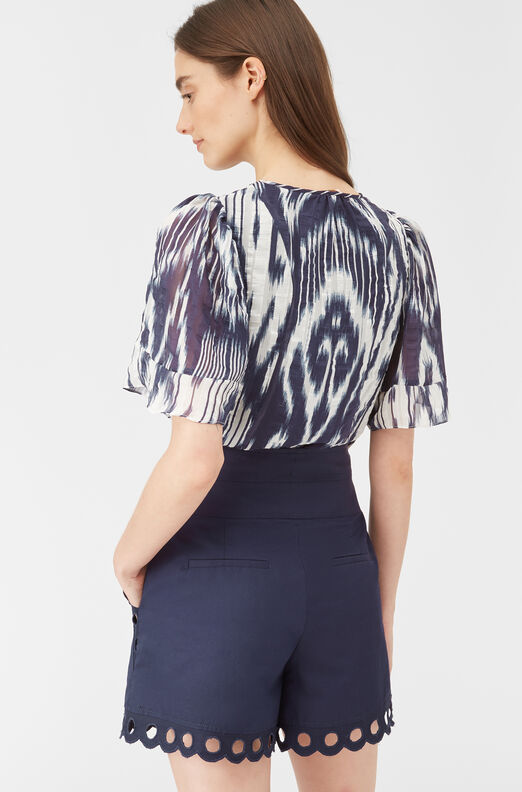Indigo Ikat Silk Top