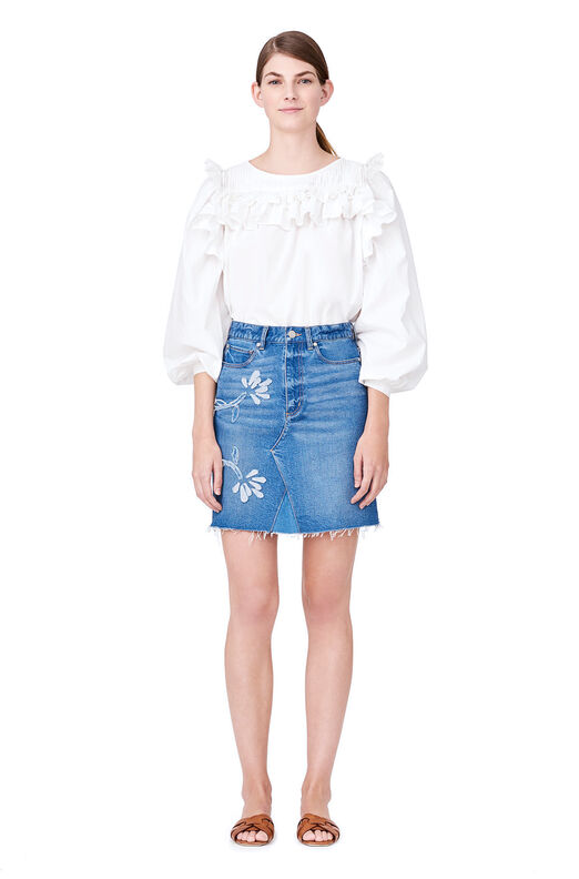 La Vie Floral Patched Denim Skirt - Bluebell Wash