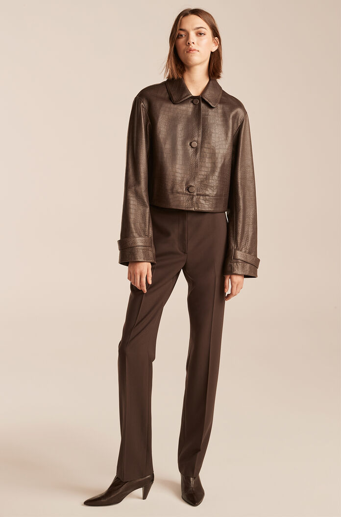 Croc Embossed Cropped Leather Jacket-Chocolate