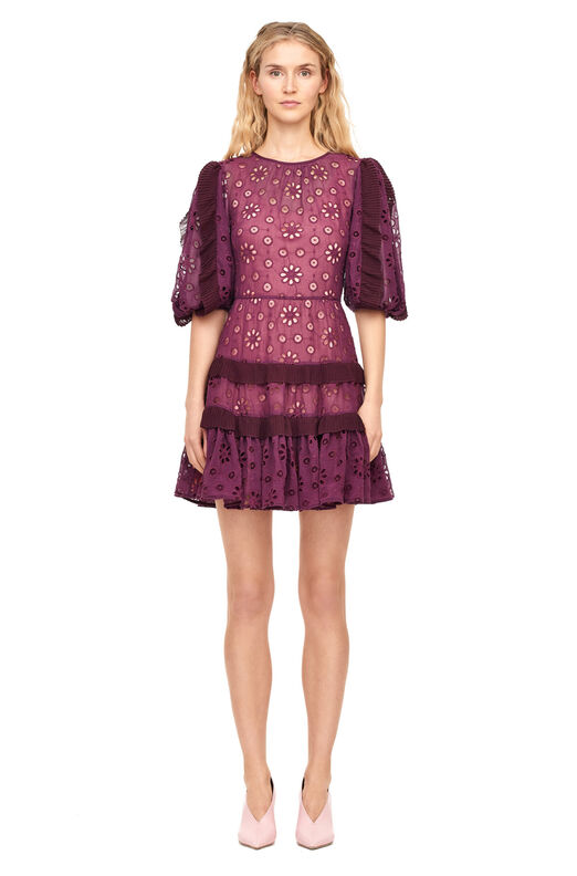 Pinwheel Eyelet Dress - Plum